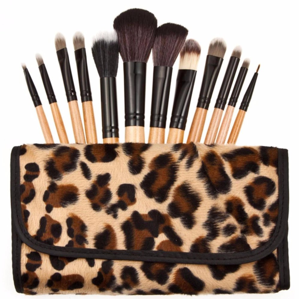 Spesifikasi Vienna Linz Kuas Make Up Cosmetic Brush Professional 12 Set Leopard Coklat Baru