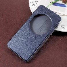View Jendela Kulit Folio Dudukan Ponsel Casing For Asus Zenfone Live ZB501 KL-biru Gelap