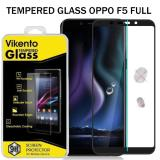 Vikento Tempered Glass For Oppo F5 Full Anti Gores Kaca Screen Guard Hitam Asli