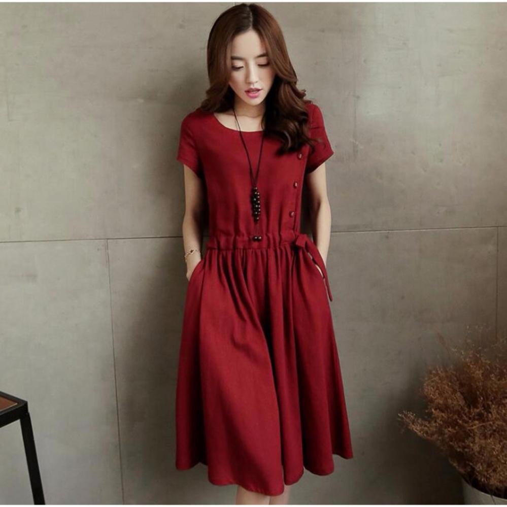 Vintage Plus Ukuran Longgar Ukuran Besar Gaun Soft Linen Side Pocket Rok Mini Dress untuk Wanita Bersalin Hamil Wanita Gemuk Ukuran M-XXL-Intl