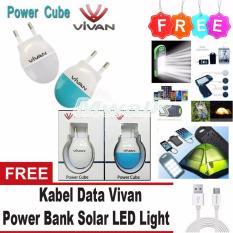 Vivan Adapter Charger 1A Power Cube Free Kabel Vivan + Power Bank Solar LED Light