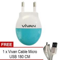 Vivan Charger 1 Output 1A - Putih-Biru + Gratis Kabel Micro USB 180Cm