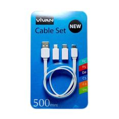 Toko Vivan Data Cables New Cable Set 500Mm White Dki Jakarta