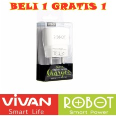 Vivan Robot RT-K1 White Charger Handphone Android / Charger Iphone / Charger Ipad  _ BUY 1 GET 1