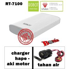 Vivan Robot RT7100 6600mAh 2 USB Ports Power Bank + gratis TRAVEL charger motor ke hape anti air