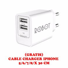 Vivan RT-C04S Dual USB Ports Charger Adapter + GRATIS CABLE CHARGER IPHONE