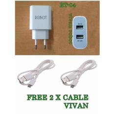 Vivan USB Power Adapter Robot RT-C04 Dual Port USB original+ 2 xVIVAN CABLE