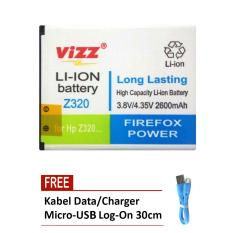 Vizz Battery for Acer Liquid Z320 - Double Power 2600 mAh + Free Kabel Micro-USB Flat Original Log-On 30cm