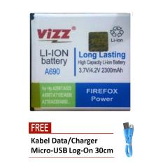 Vizz Battery for Lenovo A690 / A298T / A520 / A698T / A710E / A685 / A370 / A530 - Double Power - 2300mAh + Free Kabel Micro-USB Flat Original Log-On 30cm