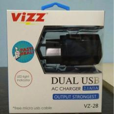 Jual Vizz Charger Tc Adaptor Vizz 2 1 A Ampere Dual Usb Cable Vz 28 Untuk Samsung Oppo Xiomi Redmi Asus Dan Semua Merk Android Black Vizz Online