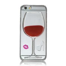 Vococal 3D wine glass TPU cair belakang kasus untuk iPhone 6 Plus/6S Plus 13.97 cm (Merah)