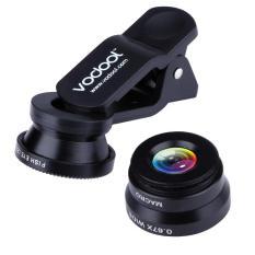 VODOOL klip 3-in-1 180 ikan-lensa mata + lensa sudut lebar + lensa makro (hitam) - International