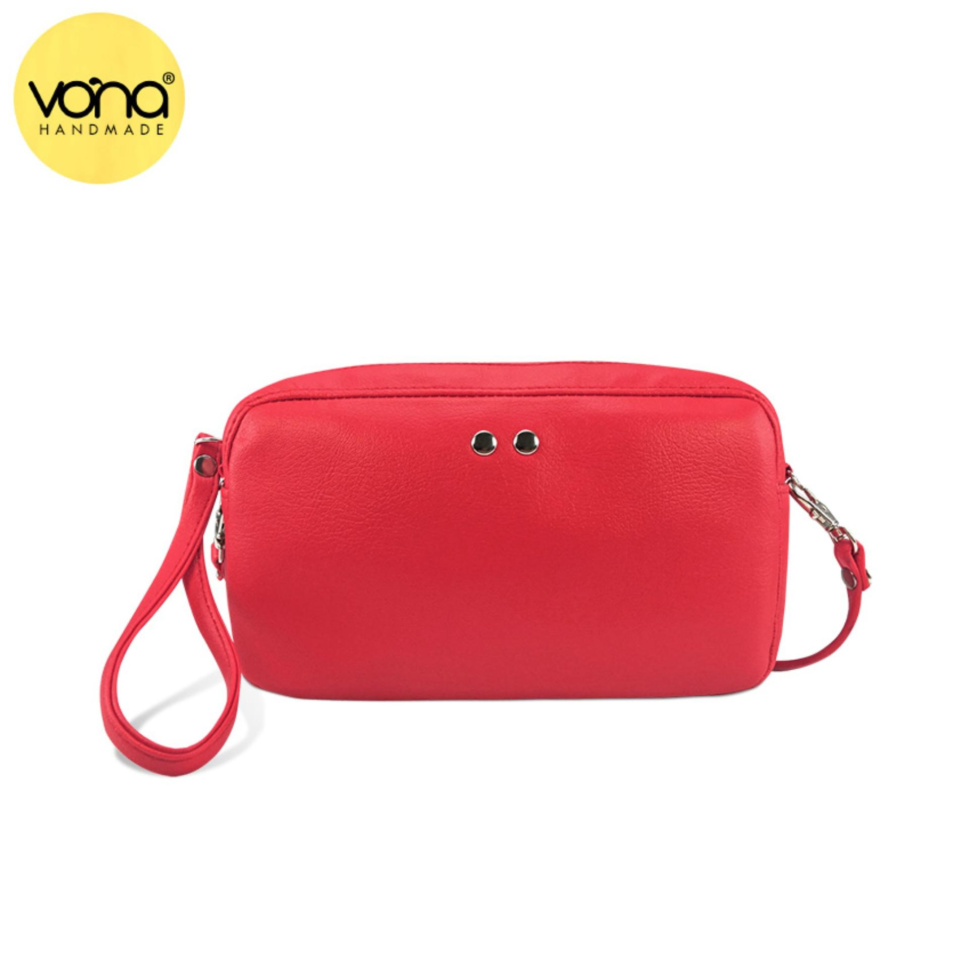 Vona Hopp Clutch Merah Clutch Sling Bag Mini Tas Selempang Bahu Ladies Pu Leather Promo Beli 1 Gratis 1