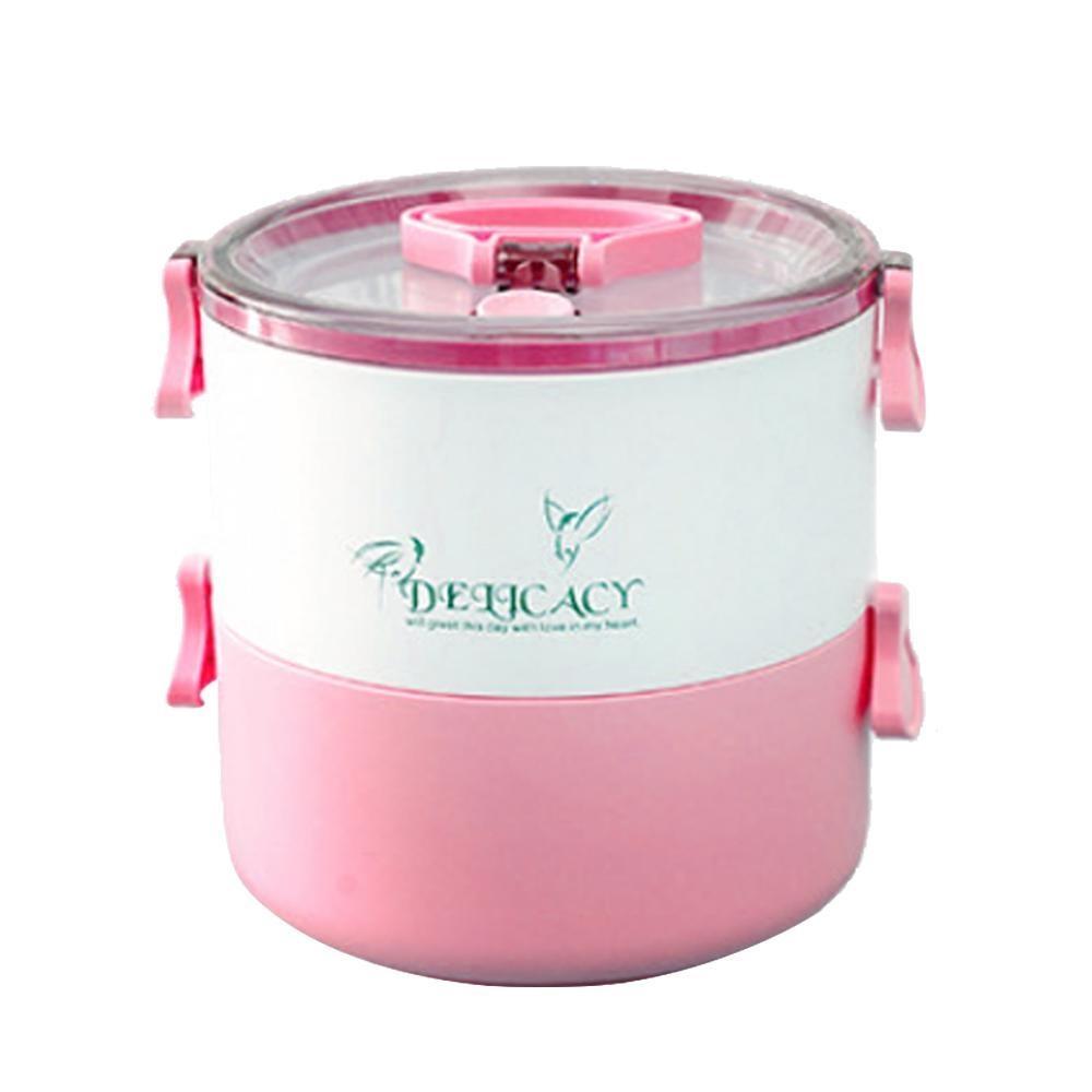 Voovrof Double-Deck Leakproof Sealed Portable Lunch Box untuk Anak Dewasa, BPA Free, Freezer Safe, Bento Kotak Penyimpanan Makanan Container-Biru-Intl
