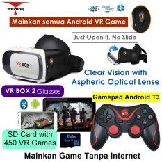 Vr Box 2 play VR game tanpa Wifi with magnet 3d vr glasses kacamata cardboard (VB2+T3+M1)