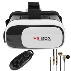 Review Toko Vr Box Version 2 Ii 3D Gear Glasses Virtual Reality Headset Withjoystick Gamepad Bluetooth Controller Mi Piston Earphone White