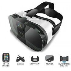 VR Headset by QWESEN | Best Glasses For Mobile Phone | Unmatched Virtual Reality Immersion W/ 3D Movies & Games | Compatible W/ Any 4.0-6.5 Inch Smartphones | iPhone 5/6/6s/7/8 Plus, Samsung S6/S7/S8 - intl