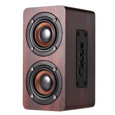W5 Merah Speaker Kembang Kayu Bluetooth Louderspeakers Ganda Bluetooth 4.2 Super Bass Hands-free dengan MIC 3.5mm AUX-IN TF Card-Intl