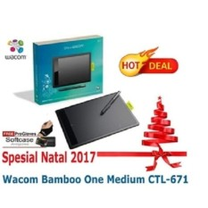 Wacom One By (Wacom) Bamboo Medium Tablet CTL-671/K0 Free Softcase,antigores dan Glove