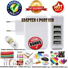 Wall Charger Adapter 5,1 Ampere 4 Port USB Premium Quality For Smartphone / Tablet / Ipad - Putih +