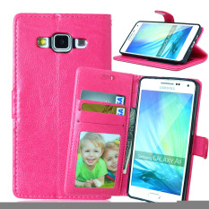 Dompet Case Stand Fitur Dompet Kulit Cover untuk Samsung Galaxy A5 A500 A5000 A500F (Pink)