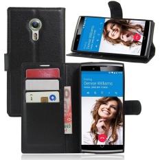 Dompet Flip Leather Case untuk Alcatel Flash 2/Alcatel OneTouch Flash 2 (Hitam)-Intl