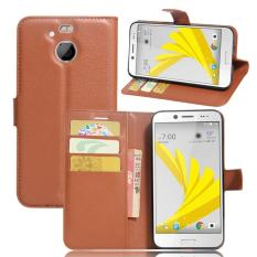 Dompet Flip Leather Case untuk HTC 10 EVO/HTC Bolt (Brown)-Intl