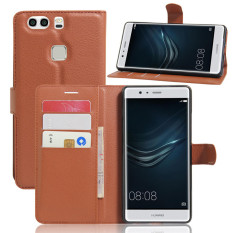 Wallet Flip Leather Case For Huawei P9 Plus (Brown) - intl
