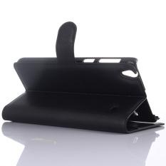 Dompet Flip Leather Case dengan Kartu Bag Holder untuk Lenovo NOTE8 A936 Hitam.