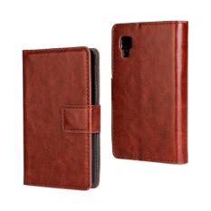 Dompet Flip Leather Case dengan Kartu Bag Holder untuk LG Optimus L4 II 4g Brown.