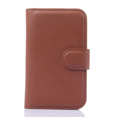 Dompet Flip Leather Cover dengan Kartu Bag Holder untuk Alcatel POP D1 (Brown).
