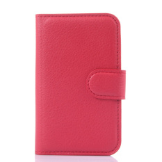 Wallet Flip Leather Cover with Card Bag Holder for Alcatel POP D1 (Red).