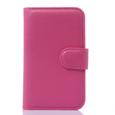 Dompet Flip Leather Cover dengan Kartu Bag Holder untuk Alcatel POP D1 (Rose Merah).