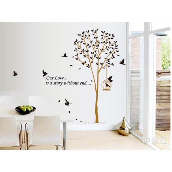 Wallsticker Bird Cage Tree AY9055 - Stiker Dinding / Wall Sticker