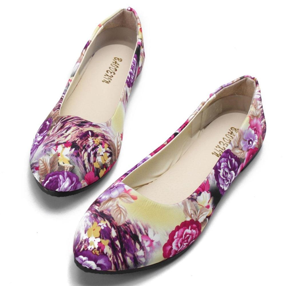 Promo Wanita Balet Kasual Flats Pantofel Floral Menunjuk Toe Sepatu Pernikahan Comfy Sepatu Ungu Akhir Tahun