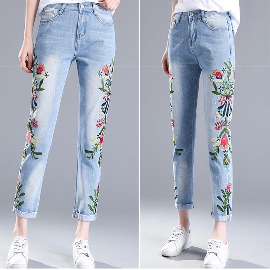 Jual Wanita Bersulam Tertekan Cropped Jeans Celana Celana Off White Skinny Jeans Wanita Korea Slim Sembilan Celana Celana Intl Online