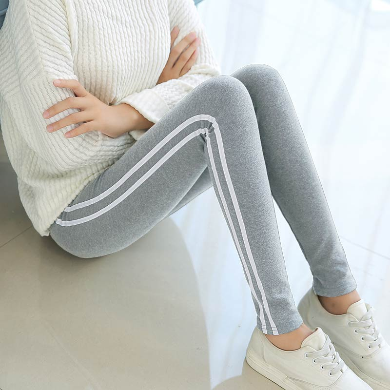 Cuci Gudang Legging Katun Celana Pensil Tambah Beludru Perempuan Lebih Tebal Sisi Sisi Putih Model Abu Abu Muda