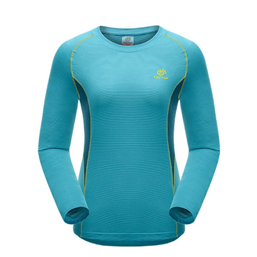 Wanita kolam cepat kering t-shirt baju kaos lengan panjang untuk olah raga lintas alam mendaki gunung - Biru - ต่าง ประเทศ