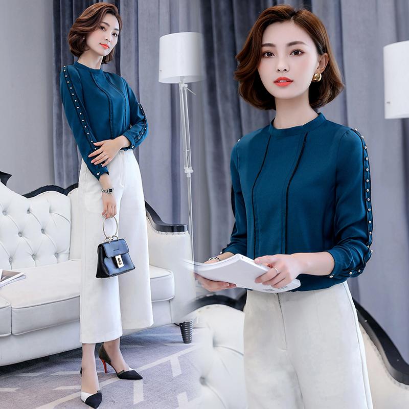 Toko Wanita Korea Fashion Style Wanita Style Baru Kemeja Sifon Biru Tua Baju Wanita Baju Atasan Kemeja Wanita Blouse Wanita Online Terpercaya