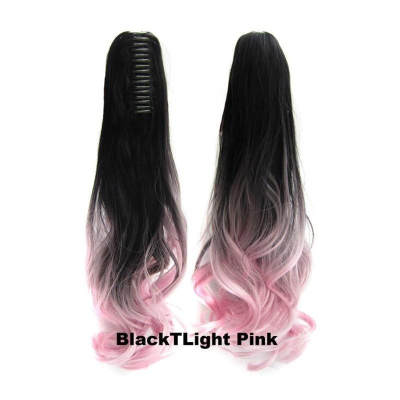 Wanita Long Curly Ponytail Wig Rambut Klip Pony Tail