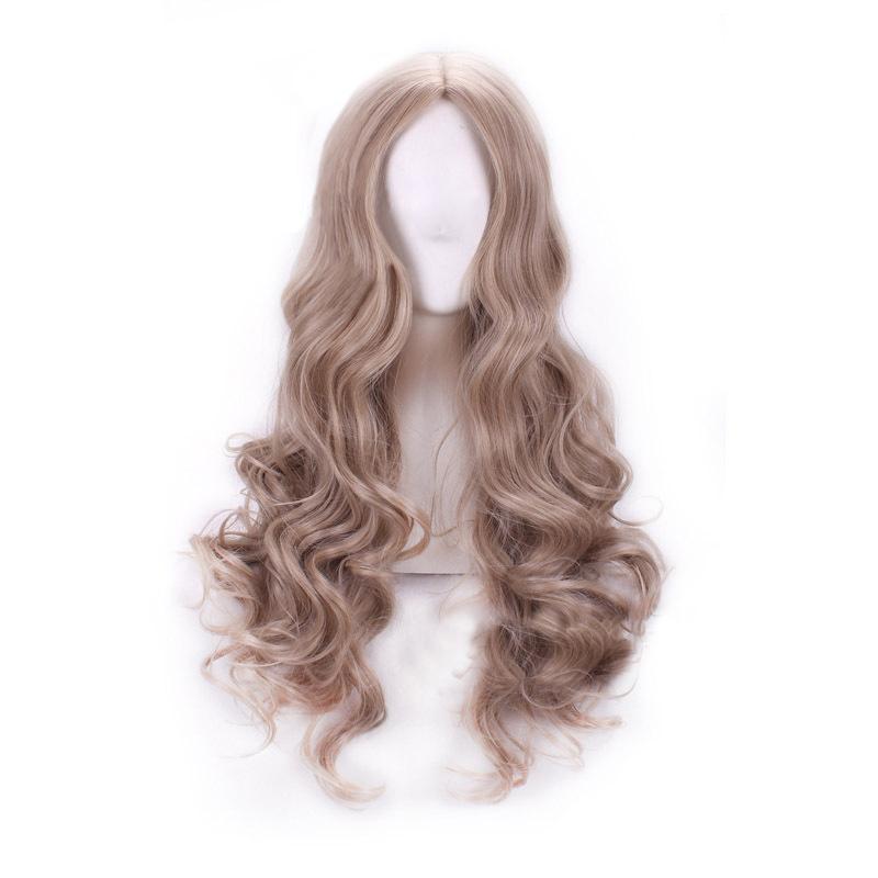 Spesifikasi Wanita Long Curly Wave Wig Rambut Pirang Terang Anime Kartun Cosplay Wig Intl Yang Bagus Dan Murah