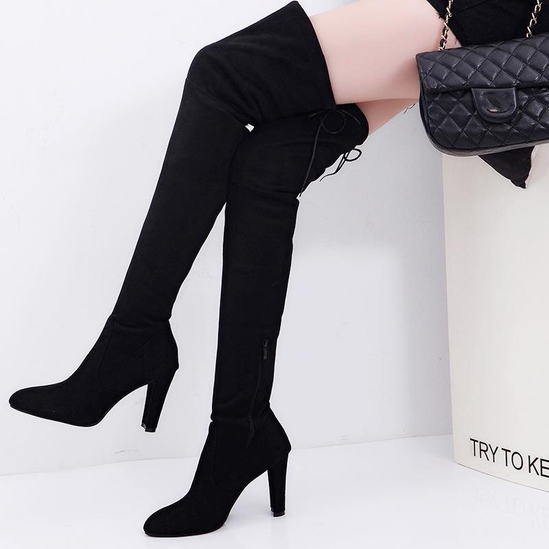 Penawaran Istimewa Wanita Long Stretch Di Atas Sepatu Lutut Paha Tinggi Bertumit Boots Zipper Lace Sepatu Intl Terbaru