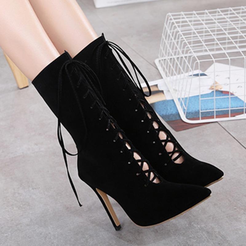 Wanita Menunjuk Toe Stiletto Sepatu Pendek Chic Pesta High Heels dengan Kotak-kotak-Intl