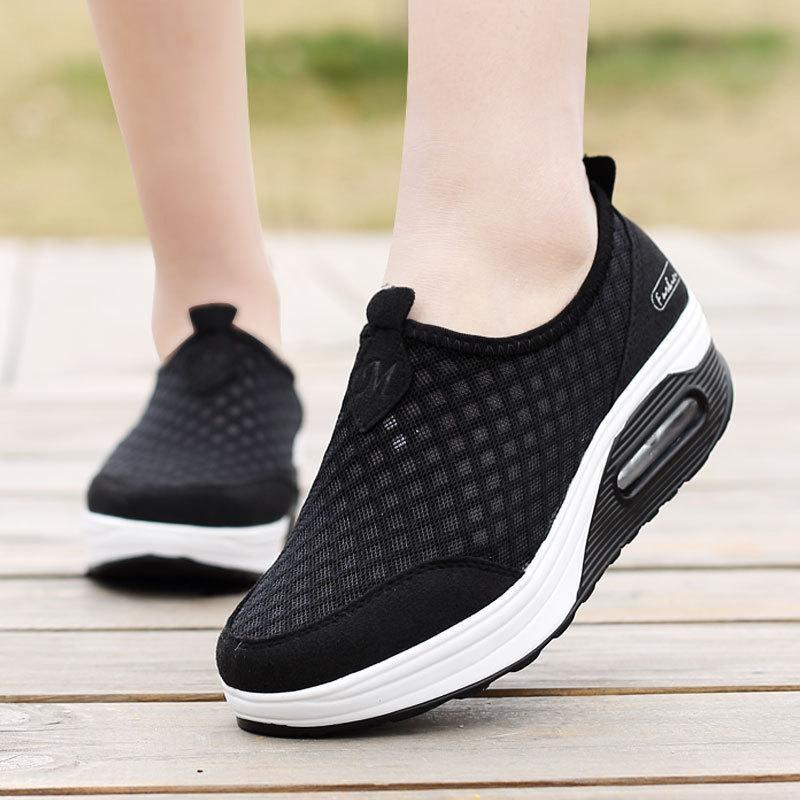 Jual Wanita Mesh Sepatu Wedge Platform Sneakers Menjalankan Sport Casual Tarik Trainer Hitam Intl Antik