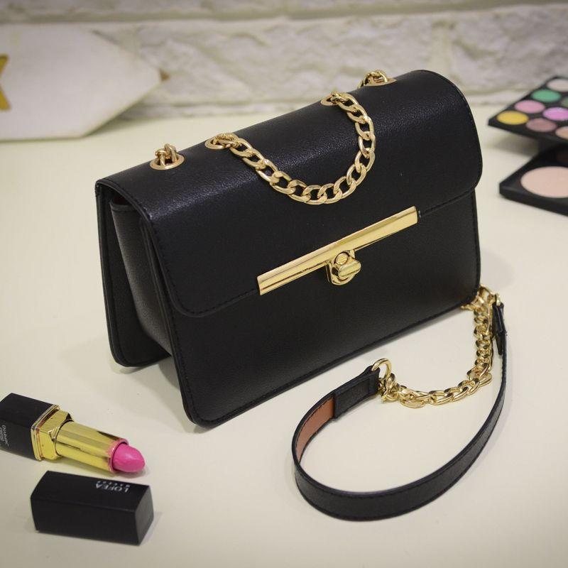 Wanita Messenger Tas Korea Fashion Mini Tas Rantai Bahu Casing-Hitam-Intl