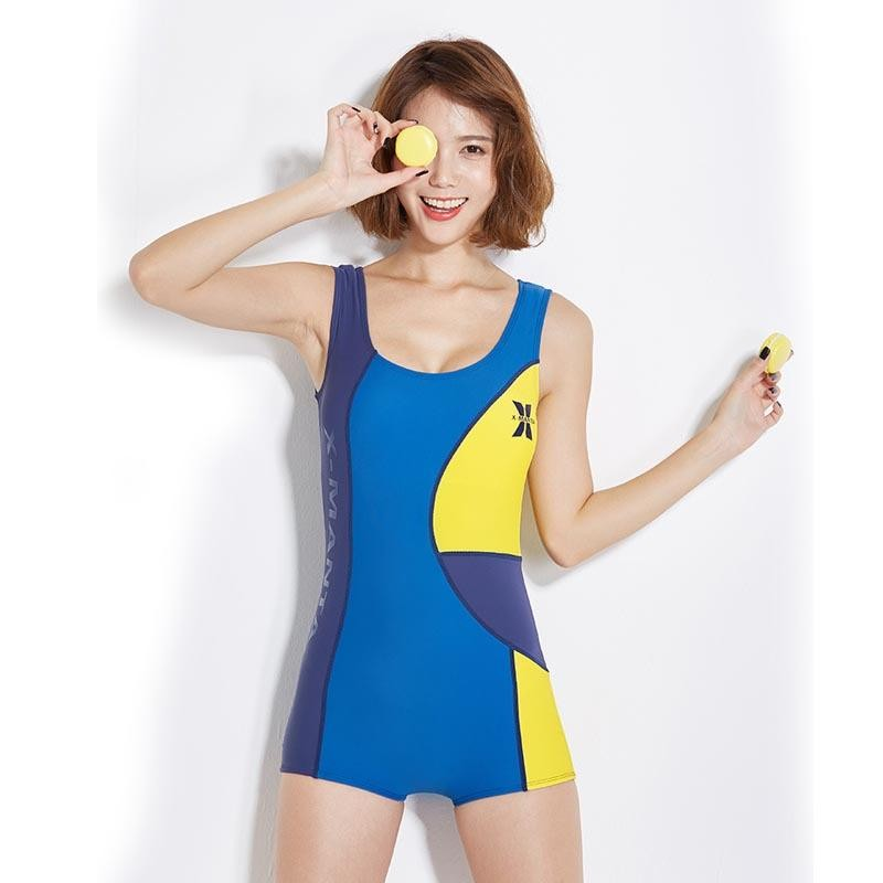 Wanita One Piece Swimsuit dengan Bra Pad Tabir Surya Rashguard Swimwear Push Up Surfing Diving Snorkeling Cocok dengan Baju Renang Cepat Kering -biru