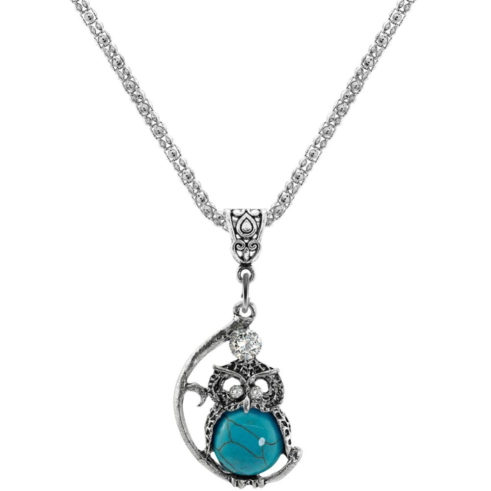 Wanita Owl Perhiasan Set Batu Alam Pendant Kalung Anting Antik Paduan Berlapis Perak Rantai Hadiah Warna: PDZ-L21 Kalung