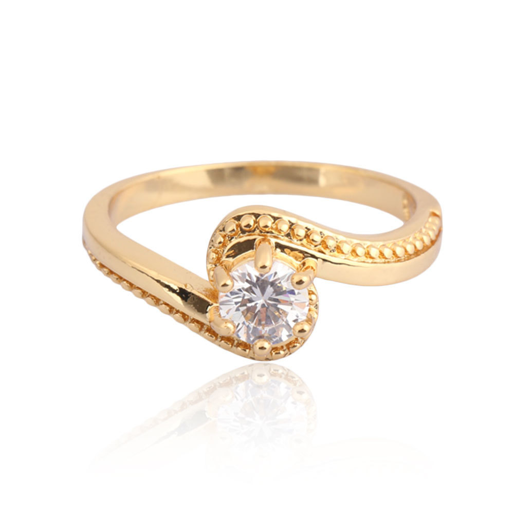 Wanita Perhiasan Cincin 18 Karat Gold Fil Zirkon