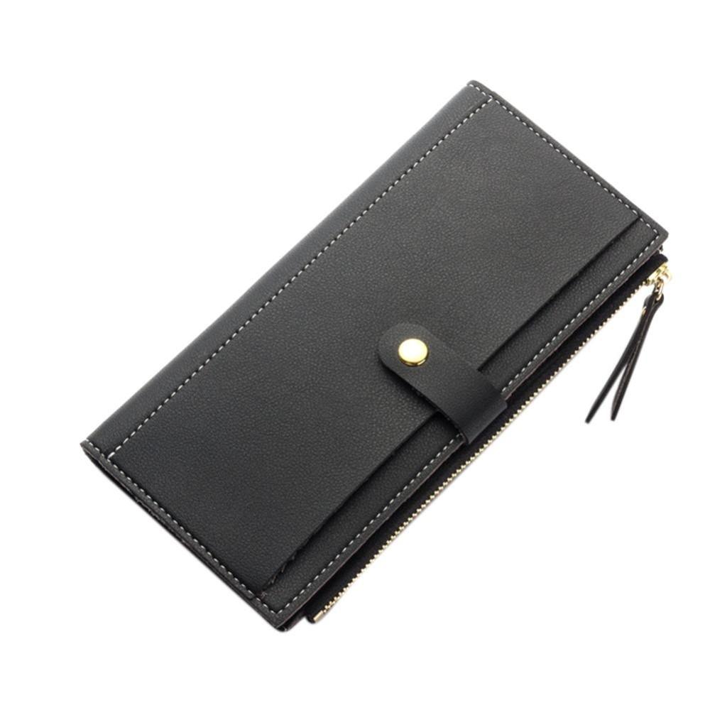 Wanita Ringkas Solid Warna Thread Kulit PU Trifold Panjang Dompet Multi- kartu ID Pemegang Penyelenggara