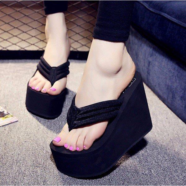 Wanita Seksi Sepatu Hak Tinggi Sandal Jepit Sandal Wedge Platform Anti Selip Sepatu Pantai-ต่างประเทศ | Lazada Indonesia